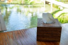 Caixas de madeira para tecidos fotografia de stock