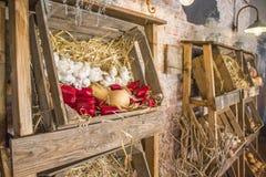 Caixas de madeira tradicionais do fazendeiro com friuts e vegetais Fotografia de Stock Royalty Free