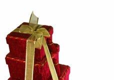 Caixas de Natal empilhadas fotografia de stock royalty free