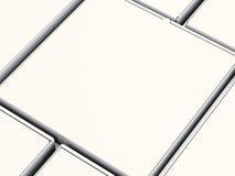 Caixas de papel da pizza do fim da placa do close up isoladas no fundo branco modelo horizontal 3d rendem Foto de Stock