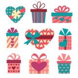 Caixas de presente ajustadas para o dia de Valentim Imagem de Stock Royalty Free
