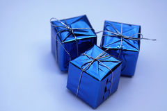 Caixas de presente azuis Fotografia de Stock Royalty Free