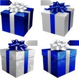 Caixas de presente azuis do vetor ilustração royalty free