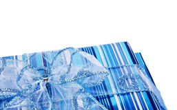 Caixas de presente azuis e uma curva Imagem de Stock Royalty Free