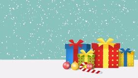 Caixas de presente brilhantes contra um fundo da neve de queda footage ilustração royalty free