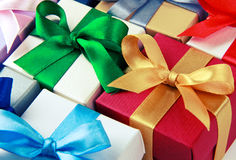 Caixas de presente coloridas Imagens de Stock Royalty Free