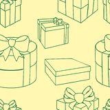 Caixas de presente coloridas com curvas e fitas Vector a ilustra??o sem emenda ilustração stock