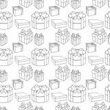 Caixas de presente coloridas com curvas e fitas Vector a ilustra??o sem emenda ilustração royalty free