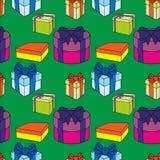 Caixas de presente coloridas com curvas e fitas Vector a ilustra??o sem emenda ilustração do vetor