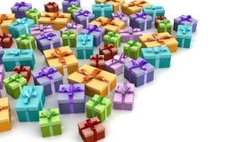 Caixas de presente coloridas no assoalho Fotografia de Stock Royalty Free