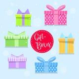 Caixas de presente coloridas no estilo liso Lotes dos presentes Foto de Stock Royalty Free