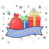 Caixas de presente com fita, ícone da curva isolado no fundo branco Pilha grande de presentes de Santa, surpresas Natal, aniversá ilustração royalty free
