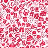 Caixas de presente de época natalícia fundo sem emenda, vetor Fotografia de Stock