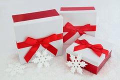 Caixas de presente do brilho do Natal Fotografia de Stock