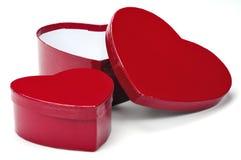 Caixas de presente do coração fotografia de stock royalty free