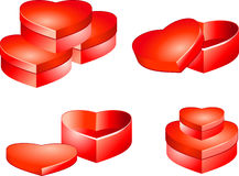 Caixas de presente do coração do feriado Fotografia de Stock Royalty Free