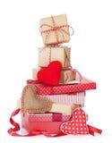 Caixas de presente do dia do Natal e de Valentim Fotos de Stock Royalty Free