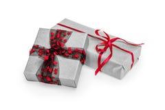 Caixas de presente do Natal isoladas no branco Imagem de Stock Royalty Free