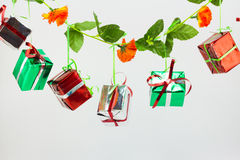Caixas de presente do Natal no fundo branco Imagem de Stock Royalty Free