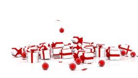Caixas de presente e bolas de queda do Natal ilustração stock