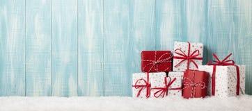 Caixas de presente envolvidas Natal Fotografia de Stock