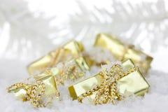 Caixas de presente festivas Foto de Stock Royalty Free