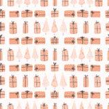 Caixas de presente festivas da árvore de Natal, ilustração do vetor