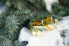 Caixas de presente na árvore do inverno Imagem de Stock Royalty Free