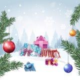 Caixas de presente na bandeira dos feriados de Forest Merry Christmas Background Design do inverno Imagens de Stock Royalty Free