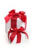 Caixas de presente no branco Fotografia de Stock Royalty Free