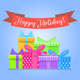 Caixas de presente para o feriado Caixa colorida Imagens de Stock Royalty Free