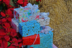 Caixas de presente para o festival do Natal fotos de stock royalty free