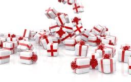 Caixas de presente de queda do Natal isoladas fotos de stock