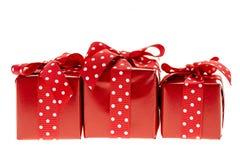 Caixas de presente vermelhas Imagem de Stock