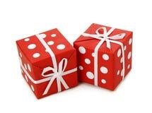 Caixas de presente vermelhas e brancas Fotos de Stock Royalty Free