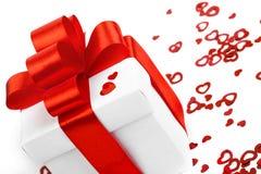 Caixas de presentes com corações de matéria têxtil Imagens de Stock Royalty Free