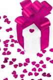 Caixas de presentes com corações de matéria têxtil, conceito do dia de Valentim Foto de Stock Royalty Free