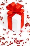 Caixas de presentes com corações de matéria têxtil, conceito do dia de Valentim Foto de Stock