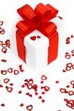 Caixas de presentes com corações de matéria têxtil, conceito do dia de Valentim Imagem de Stock