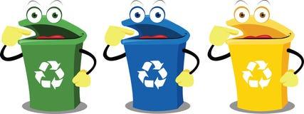Caixas de recicl engraçadas ilustração do vetor