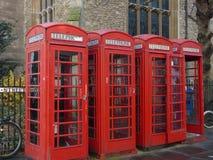 Caixas de telefone vermelhas Fotos de Stock