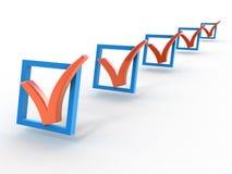 Caixas de verificação com marcas de verificação Fotos de Stock Royalty Free