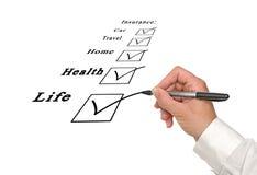 Caixas de verificação do seguro