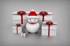 Caixas do boneco de neve e de presente Foto de Stock Royalty Free