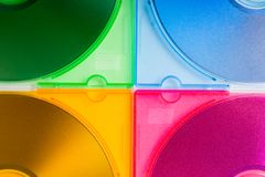Caixas do Cd da cor Imagens de Stock Royalty Free