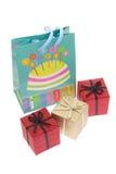 Caixas do saco e de presente da festa de anos Imagem de Stock Royalty Free