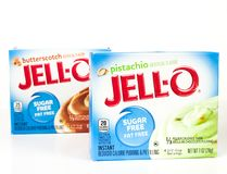Caixas do tipo Sugar Free Pudding Mix de Jello foto de stock