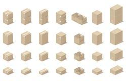 Caixas dos ícones 3d, estilo realístico de gráficos de vetor, uma vista isométrica Foto de Stock Royalty Free