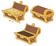 Caixas dos desenhos animados de moedas de ouro Foto de Stock Royalty Free