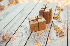 Caixas dos presentes de Natal foto de stock